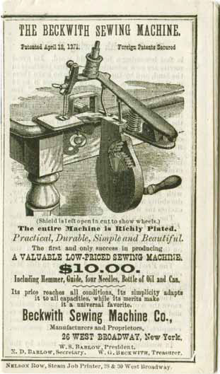 Beckwith's 10 dollar sewing machine advertisement.