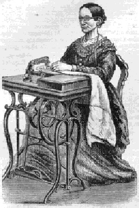Woman Standing Beside Vintage Treadle Sewing Machine